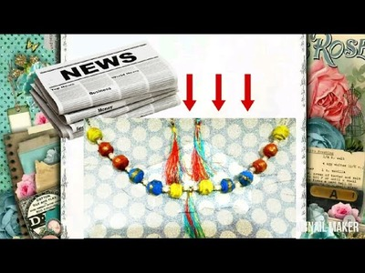 Best out of waste HOW TO MAKE DIY NEWS PAPER JWELLERY making tutorial]