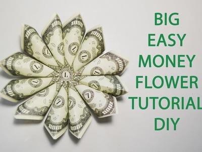 Big Money Beautiful Flower Origami Tutorial Dollar Folded DIY Decoration No glue