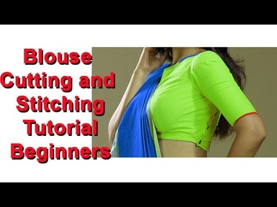 Blouse cutting and stitching beginners DIY tutorial hindi, belt blouse, taking measurement