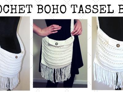 Crochet Bag - Crochet Boho Tassel Bag