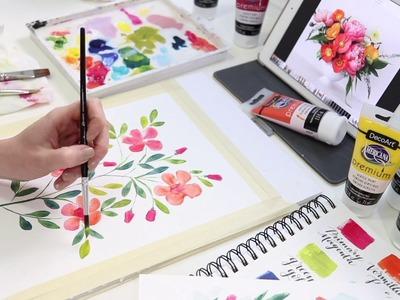DIY Acrylic Flower Painting Tutorial