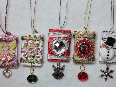 DIY~Adorable Wrapped Charm Ornaments Made With Left Over Craft Supply Bits & Pieces!