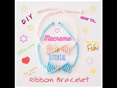 DIY baby jewelry. Macrame tutorial. How to make easy macrame ribbon bracelet.