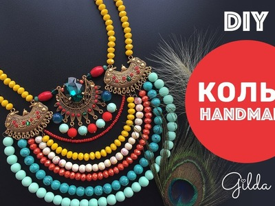 DIY Boho Ethnic Tribal Necklace with Metal Parts & Beads. Easy Tutorial [Eng Subs]
