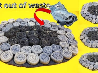 DIY Craft ||  how to Reuse Your Old jeans to make rugs || Best out of waste