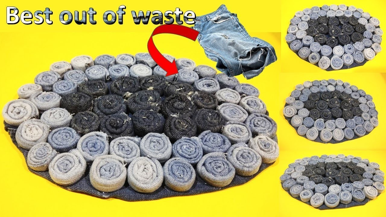 Diy craft how to reuse your old jeans to make rugs for Best out of waste very easy