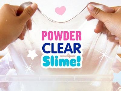 DIY CRYSTAL CLEAR Powder Slime!!! QUICK METHOD, NO BORAX!! DIY Giant Clear Slime