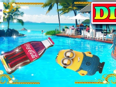 DIY Doll mattress COCA-COLA(coke), MINIONS. Pool float for Barbie, MH. How to make Easy Doll crafts