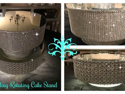 DIY - DOLLAR TREE INSPIRED ROTATING DISPLAY CAKE STAND. ILLUMINATING UPDATED CAKE STAND
