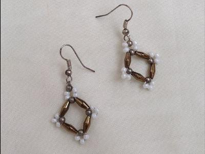 Diy  easy beaded earrings |how to make beaded earrings tutorial | seed bead earrings | diy jewellery