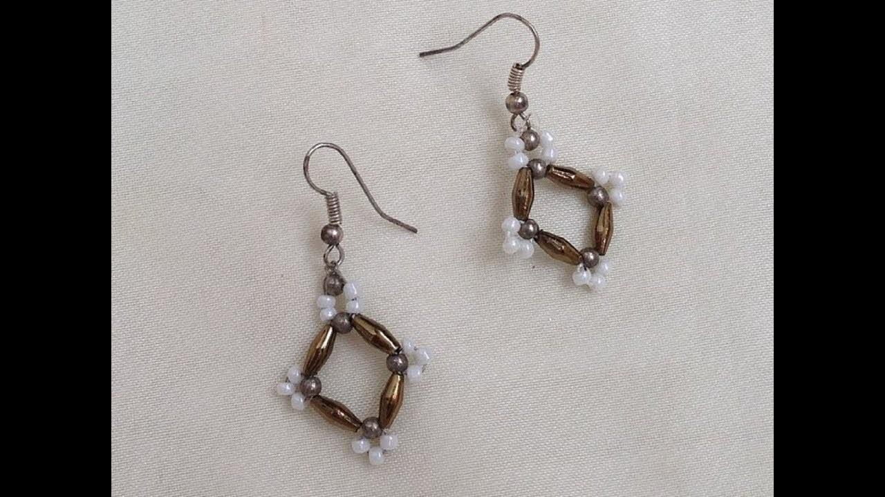 Diy easy beaded earrings  how to make beaded earrings tutorial ...