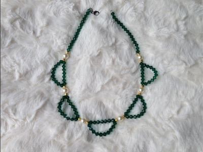 Diy easy emerald swarovski bicone necklace | How to make necklace