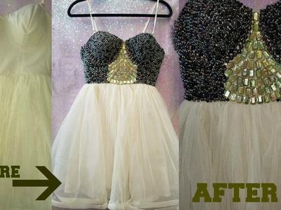 DIY | GEM.RHINESTONE  DRESS! NO SEW for under 15$!!