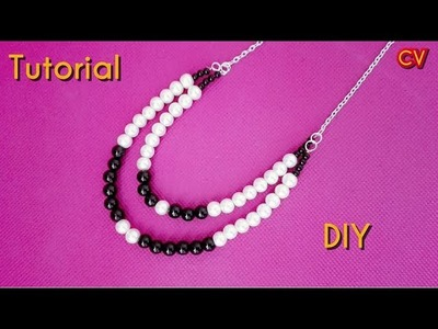 DIY. How to Make 2 Strand Beaded Necklace. Tutorial 1. Beginners