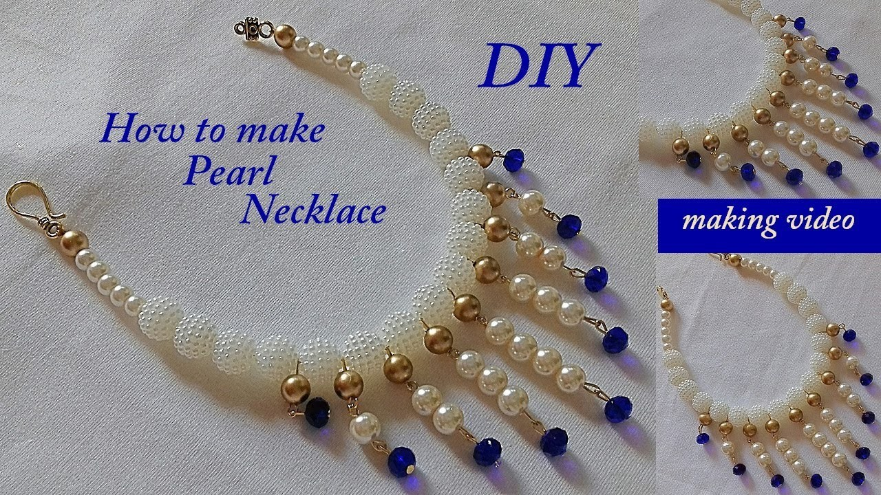 DIY || how to make bridal  pearl necklace || designer pearl necklace || handmade tutorial