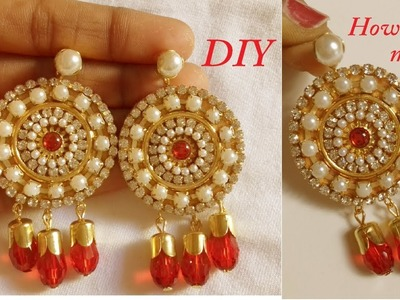 DIY || how to make designer fancy earring at home || how to make paper earring tutorial