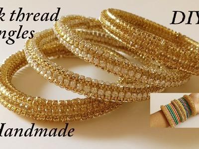 DIY    how to make designer silk thread bridal bangles at home    handmade tutorial
