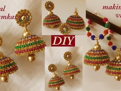 DIY || How to make designer silk thread bridal Jhumka earrings at home || tutorial