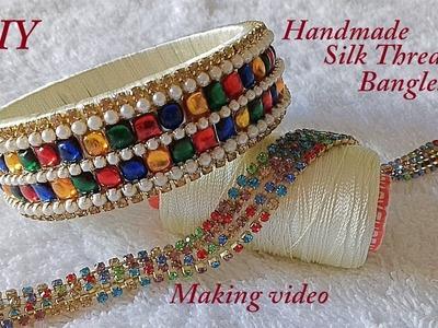 DIY || how to make designer silk thread stone bangles at home || handmade tutorial