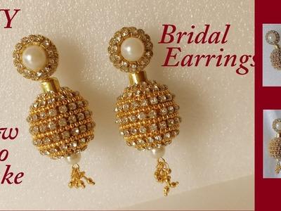 DIY || how to make designer silk thread bridal jhumka earrings at home || handmade tutorial