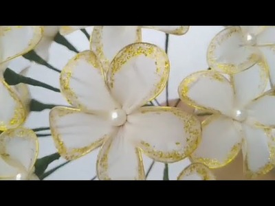 DIY How to make simple and easy flowers with stocking cloth - Tutorial