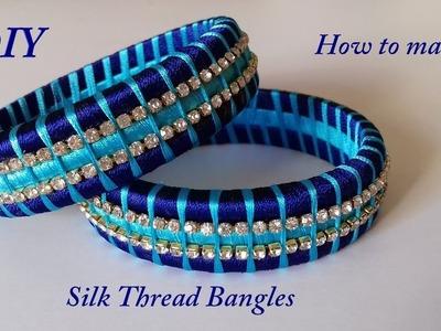 DIY || how to make two colour silk thread designer bangles at home || handmade tutorial