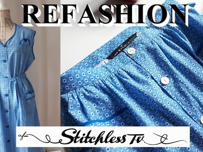 DIY How to sew refashion dress into shirt