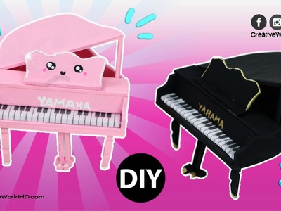 DIY Kawaii Miniature Piano for Doll.Dollhouse Easy(No Polymer Clay or Popsicle Sticks)
