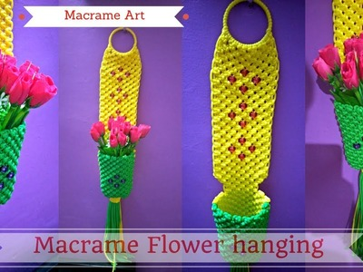 DIY Macramé tutorial of Macrame Flower hanging | Macrame Art Design #2