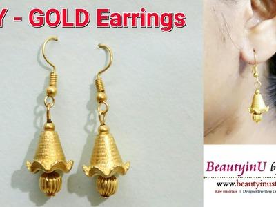 DIY. Making of Easy Gold Earrings.Hangings in 2 Minutes. Tutorial