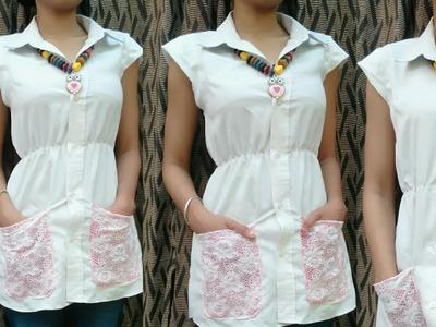 DIY.Reuse old Men's Shirt.10 Minute DIY.DIY Men's Shirt turned into a women's Shirt