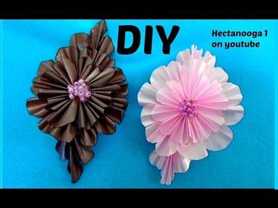 Diy RIBBON FLOWER, Kanzashi Barrette, Hair Accessories, fabric flowers