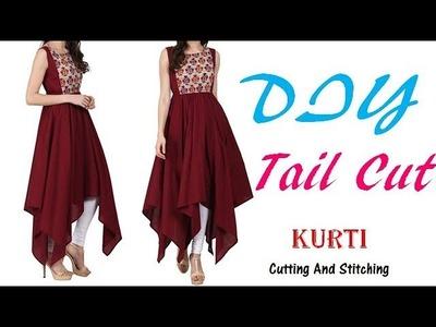 DIY Tail Cut Kurti\Asymmectric Kurti Cutting And Stitching full Tutorial by PN'z World
