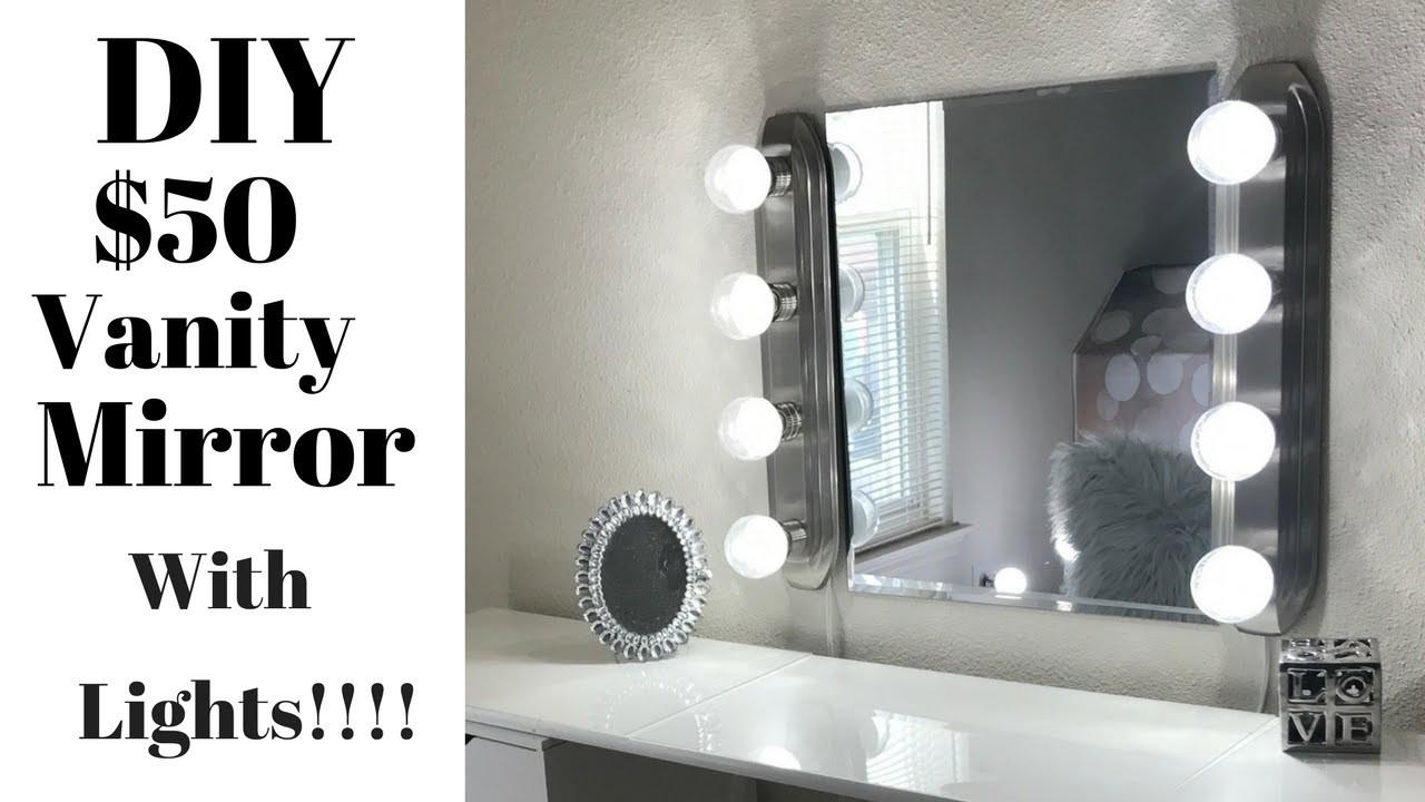 DIY | Tutorial | $50 Vanity Mirror with Lights!