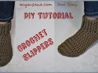 DIY Tutorial - Crochet Simple Slippers (Heklane popke)