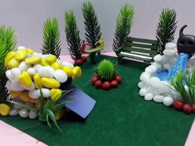 DIY Tutorial : Hot glue waterfall || Make Miniature park on the playground for kids