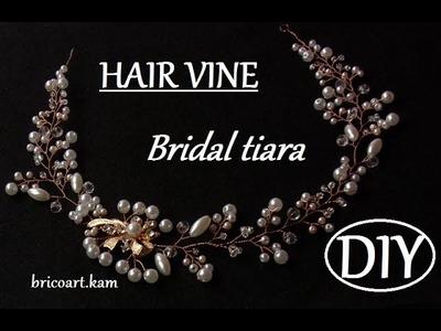DIY tutorial Rose gold Hair Vine with Brooch Bridal Headpiece Wedding Hair Vine Tiara