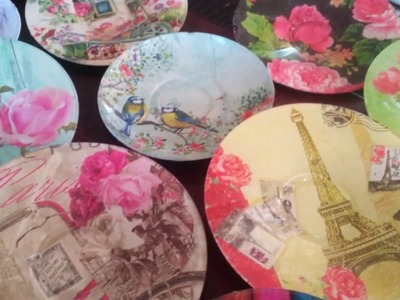 DIY:Upcycle.Decoupage.Modpodge Glass Plates.Saucers with Paper Napkin.Tissue Paper