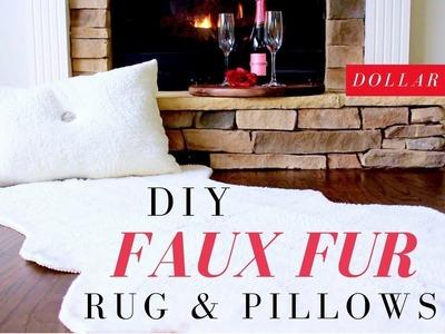 DOLLAR TREE DIY FAUX FUR RUG & PILLOWS | DIY FAUX FUR RUG TUTORIAL