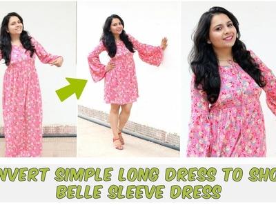 Easy DIY: Convert Simple Long Dress Into Short Trendy Bell Sleeve Dress
