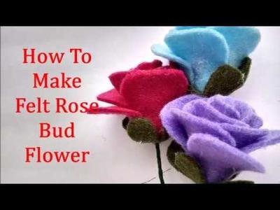 Easy & Simple To Make Felt Rose Bud Tutorial - DIY Cara Membuat Bunga Flanel