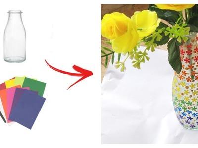 Flower vase using Old Bottle - 15 mins Craft -  Best Out of Waste