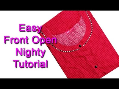 Front open nighty cutting and stitching DIY tutorial  മലയാളം, full open nighty cutting and stitching