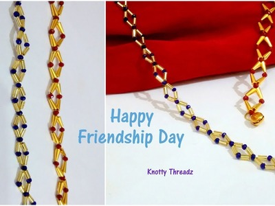 Happy Friendship Day | DIY Crystal Friendship Band | Bracelet Tutorial | www.knottythreadz.com