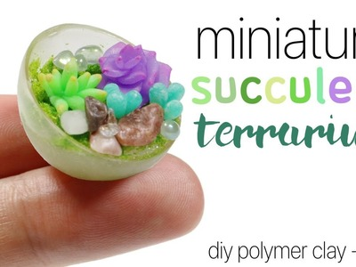 How to DIY Miniature Succulent Terrarium Polymer Clay.Resin Tutorial