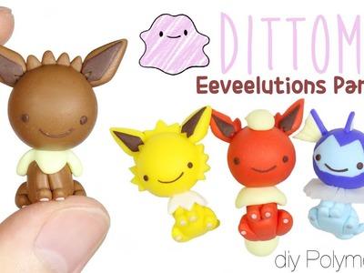 How to DIY Original Eeveelutions Dittomon:  Eevee, Vaporeon, Flareon, Jolteon Polymer Clay Tutorial