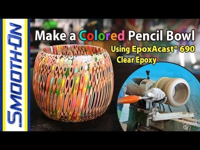 How To Make a Hand Made Colored Pencil Bowl - DIY Epoxy Wood Turning Tutorial