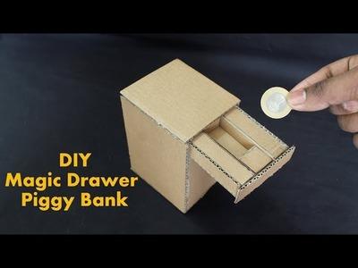 How to Make a Magic Drawer Piggy Bank With Cardboard - DIY Kids Piggy Bank