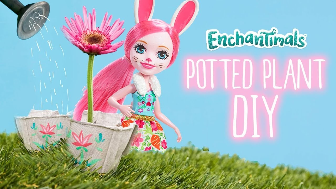How To Make Bree Bunny Potted Plants --  An Enchantimals Tutorial | Kids DIY Tutorial