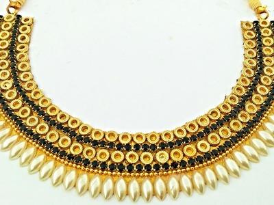 How To Make Bridal Necklace. Designer Pearls  Necklace. DIY. Chokar. Home Made Tutorial